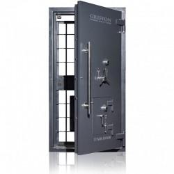 Drzwi skarbcowe HERKULES klasa II z drzwiami awaryjnymi i trzema zamkami